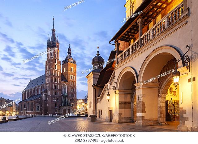 Dawn at the Cloth Hall on main market square in Kraków old town, Poland