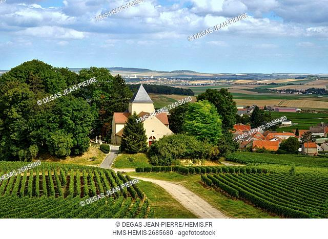 France, Marne, Ecueil, mountain of Reims, church Saint Crespin of the 12th century in the middle of the vineyards of Champagne