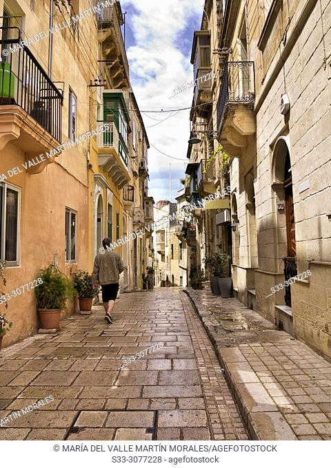 Typical alley in Senglea. Malta
