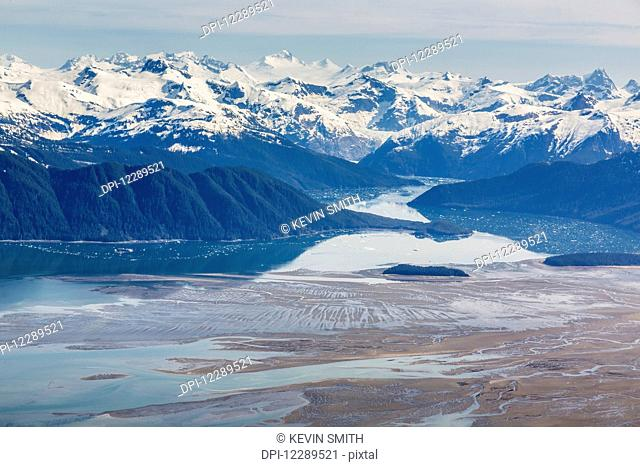 Aerial view of low tide in the Stikine River Delta on a clear day, Wrangell, Southeast Alaska, USA, Spring