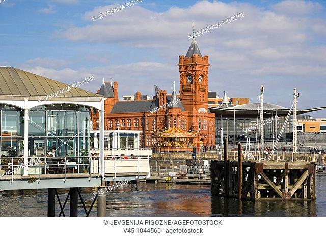 Mermaid Quay. The Pierhead Building. The Senedd. Senate. National Assembly building. Cardiff Bay. Cardiff. Caerdydd. South Glamorgan. Wales. UK