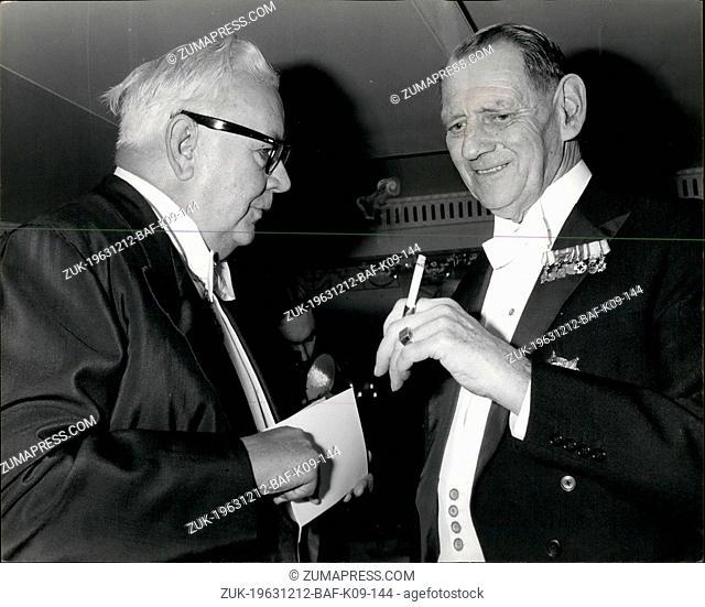 Dec. 12, 1963 - King Frederik attends Centenary dinner: This evening, King Frederik of Denmark attended the Centenary Dinner of the Danish Club