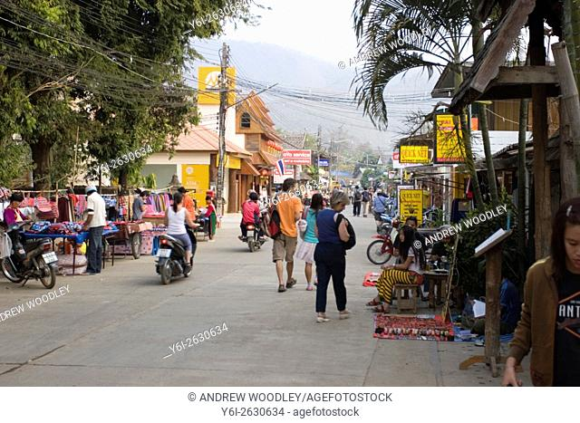 Main street with road side stalls Pai north Thailand