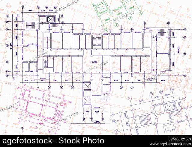 Architectural background with technical drawings. Blueprints series. Site plan texture. House blueprint, drawing, part of architectural project