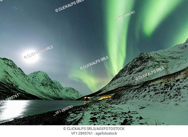 Northern Lights color the night sky lit up by the moon. Kjosenfjord, Lyngen Alps, Troms, Norway, Lapland, Europe