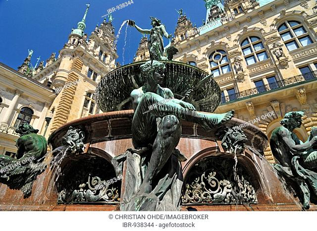 The historic Hygieia Fountain in the inner courtyard of the townhall in Hamburg, Germany, Europe