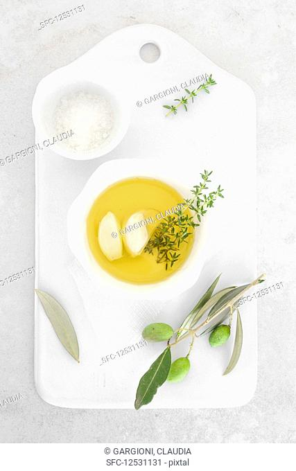 Olive oil with thyme garlic and salt