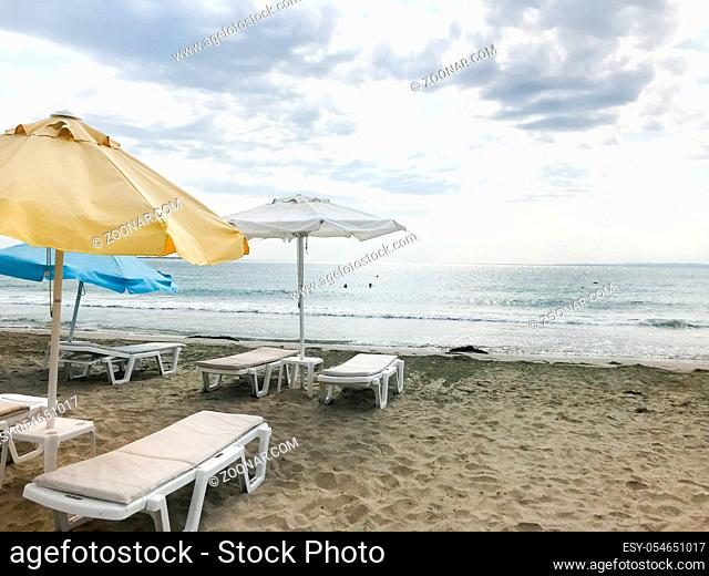 Pomorie, Bulgaria - September 12, 2019: People Relaxing On The Beach