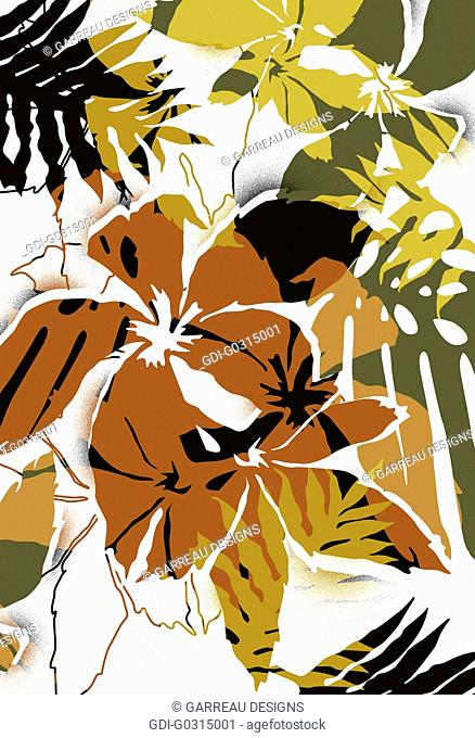 Brown tropical flowers on white background