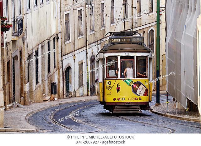 Portugal, Lisbon, tram 28, Baixa pombalin
