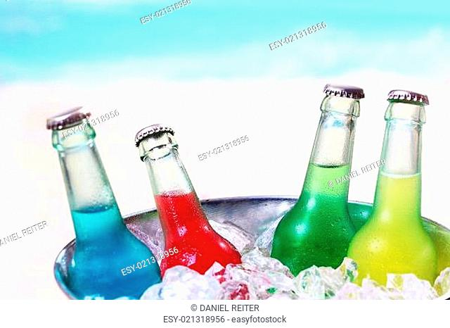 Colourful chilled soda drinks
