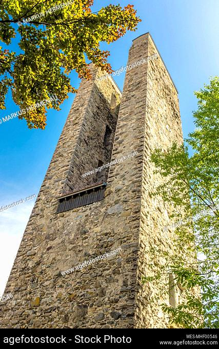 Germany, Baden-Wurttemberg, Ravensburg, Low angle view of medieval Schellenberg Tower