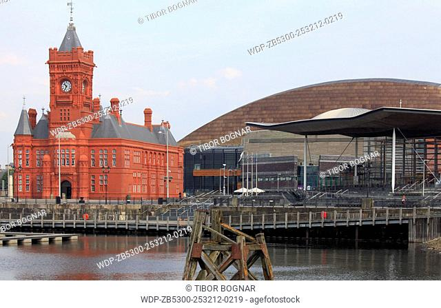 UK, Wales, Cardiff, Bay, Pierhead Building, Millennium Centre