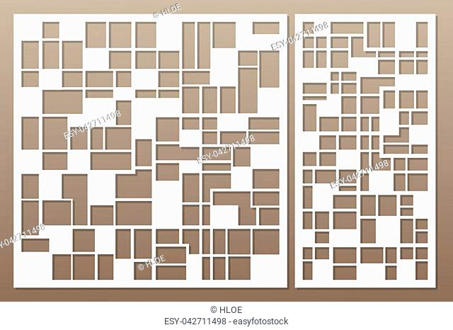Template for cutting. Abstract lines, square, brick pattern. Laser cut. Set ratio 1:1, 1:2. Vector illustration