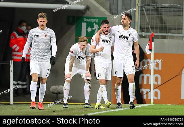 goaljubel Marco RICHTER (FC Augsburg) after goal to 2-1 with Rani KHEDIRA (FC Augsburg), hi: Andre HAHN (FC Augsburg), left: Florian NIEDERLECHNER (FC Augsburg)