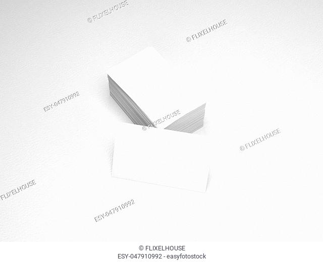 Stack of white business cards. Name cards mockup template on white leather background. 3D Rendering with shadow
