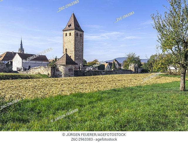 medieval town wall with donjon, village Niedernai, Alsace, France