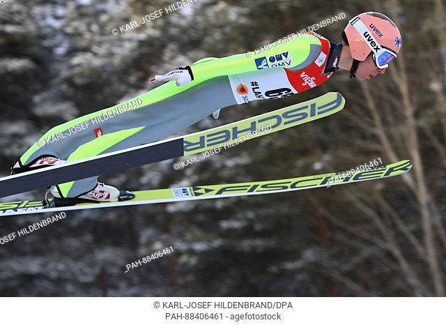 Austrian athlete Stefan Kraft in mid-air during a jump from the normal slope at the FISNordic World Ski Championships 2017 in Lahti, Finland, 24 February 2017
