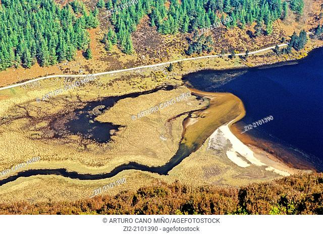 The Poulanass river delta on Upper Lake, Glendalough, Republic of Ireland