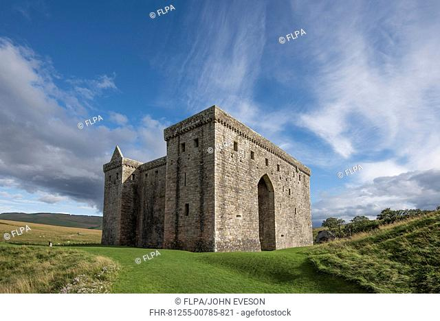 Medieval castle keep, Hermitage Castle, near Newcastleton, Roxburghshire, Scotland, September