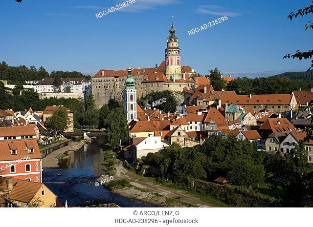 Cesky Krumlov, view on castle Cesky Krumlov, river Vltava, South Bohemia, Czech Republic