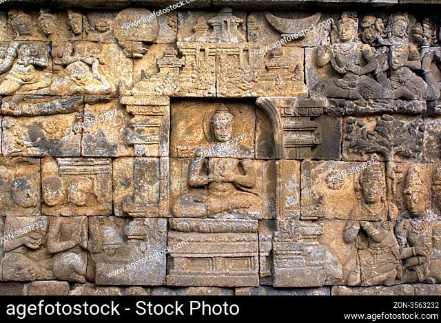 On the wall of Borobudur, Java, Indonesia