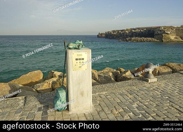 Monument to the Long distance Trails of Europe, Las Palomas Islands, Tarifa, province of Cadiz, Andalucia, Spain