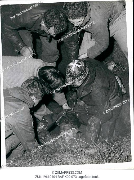 Apr. 04, 1961 - Potholer rescued in fifteen hour drama, Struggle at Simon's Pot, Kingsdale, nr. Ingleton-Yorkshire. More than 100 rescuers toiled for fifteen...