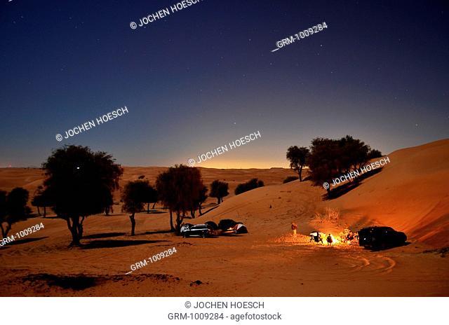 Camping in the desert near Al Ain, United Arab Emirates