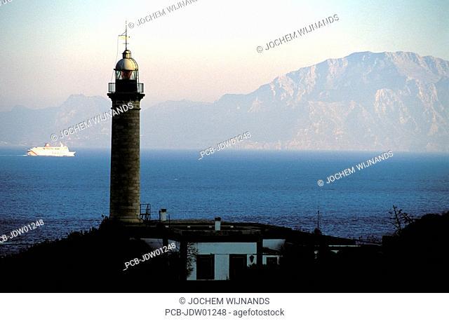 lighthouse of algeciras, view on morocco across the street of gibraltar