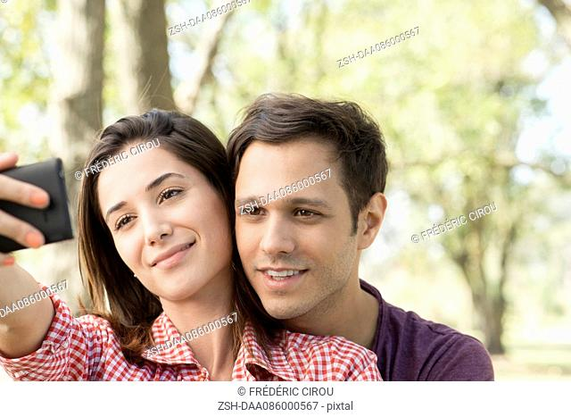 Couple posing for selfie
