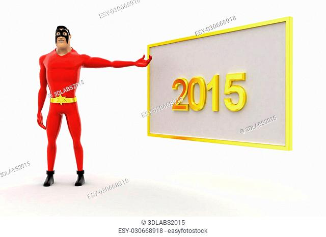 3d superhero poininting at 2015 board concept on white background, side angle view
