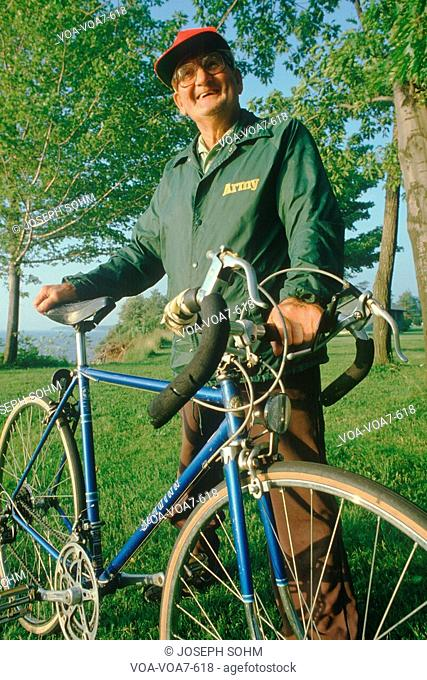 An active senior citizen and his bicycle, Lake Erie