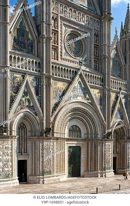 Orvieto Cathedral  Detail of facade  Orvieto  Terni Province  Umbria  Italy