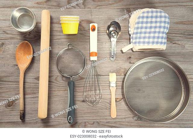 Various baking tools arrange from overhead view