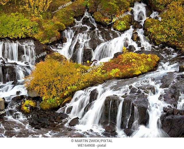 Waterfall Hraunfossar with colorful foilage during fall. europe, northern europe, iceland, september