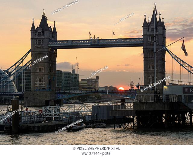 Europe, UK, England, London, Tower Bridge sunset