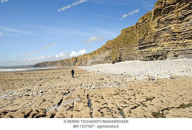 Person on a beach, cliffs, coast, Nash Point, Glamorgan Heritage Coast, South Wales, Wales, United Kingdom, Europe
