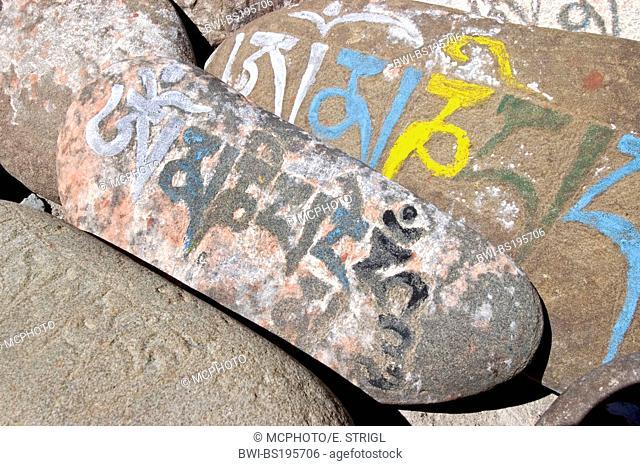 buddhist mani stone in Ladakh, India