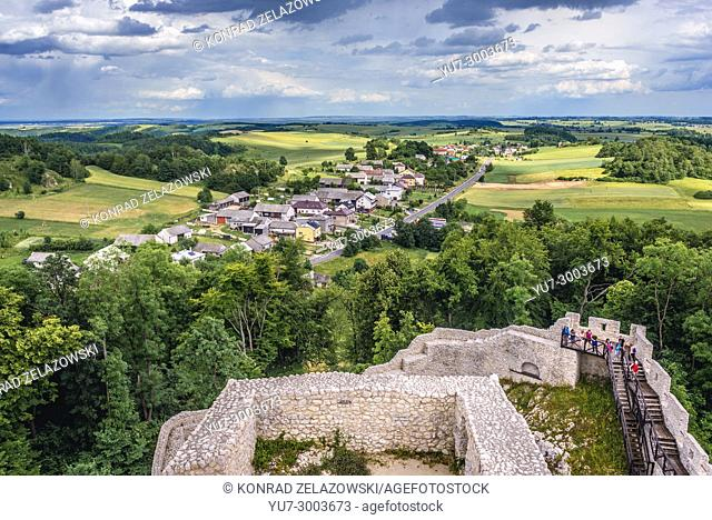 Aerial view from tower of castle in Smolen village, part of the Eagles Nests castle system in Silesian Voivodeship of southern Poland