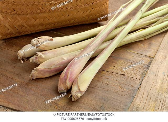 Fresh lemongrass on the table