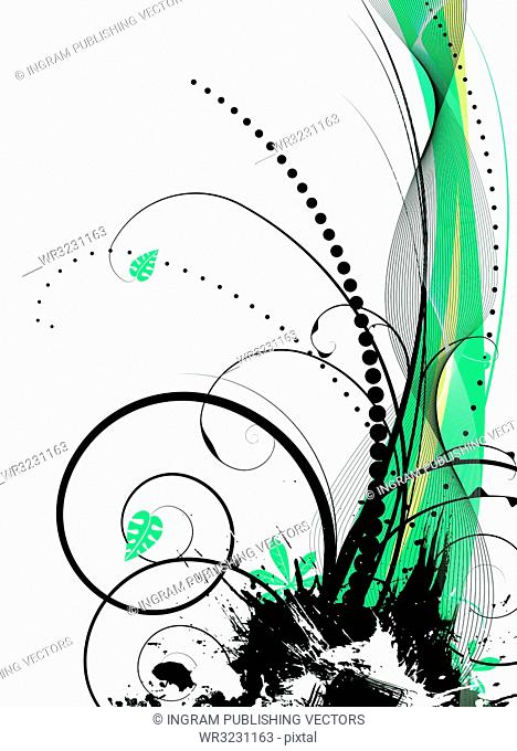 abstract illustration with a natural theme using leaves and green hues