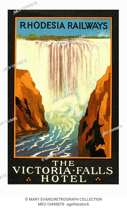 Poster design for Rhodesia Railways, and the Victoria Falls Hotel, featuring the Victoria Falls themselves