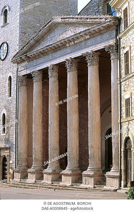 Facade of the Temple of Minerva, 1st century BC, later church of Santa Maria sopra Minerva, 1539, Assisi (UNESCO World Heritage Site, 2000), Umbria, Italy