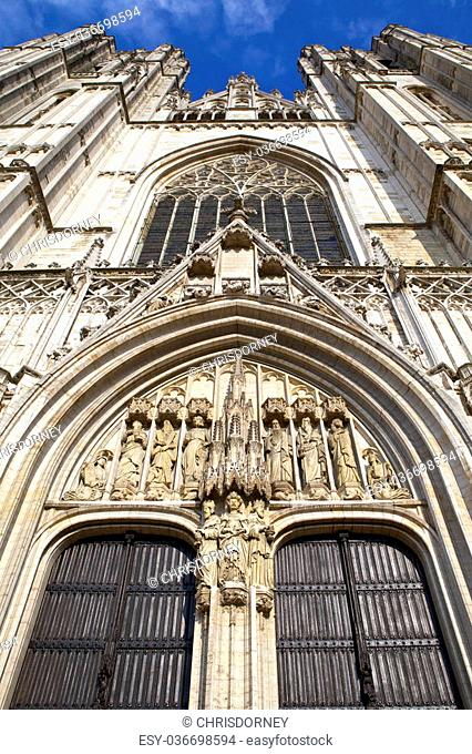 Looking up at the impressive St. Michael and St. Gudula Cathedral in Brussels, Belgium