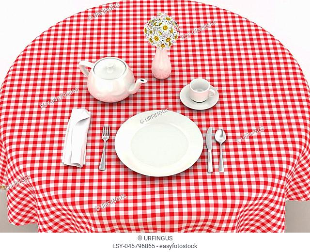 White dinnerware for serving breakfast on the red tablecloth. 3d illustration