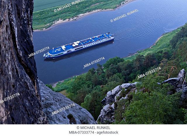 Cruise ship on the river Elbe passing the Saxony switzerland, Saxony, Germany