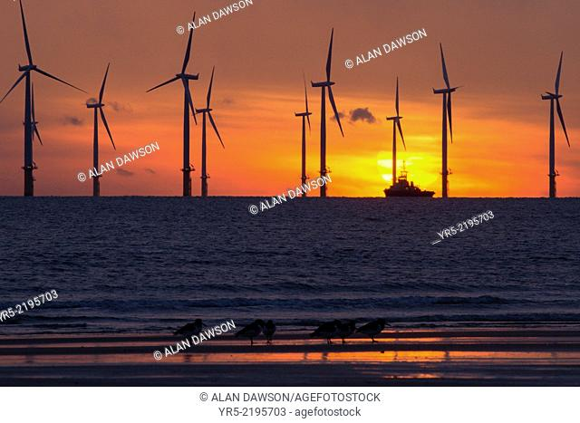 Teesside Offshore Windfarm at Redcar from Seaton Carew beach near Hartlepool, north east England, United Kingdom