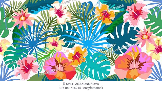 Flourish panoramic print with Hawaiian motifs. On blue background. Retro textile collection