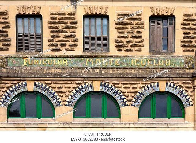 facade of the funicular station in San Sebastian, Spain